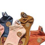 Женские короткие однотонные носки с собачками, фото 2