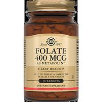 Вітаміни для вагітних Фолат 400мкг (Метафолин) таблетки з фолієвою кислотою (50табл.,США, Solgar)