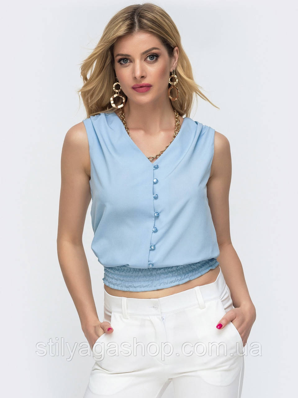 Базовая блузка без рукавов с оборкой по низу ЛЕТО