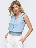 Базовая блузка без рукавов с оборкой по низу ЛЕТО, фото 2