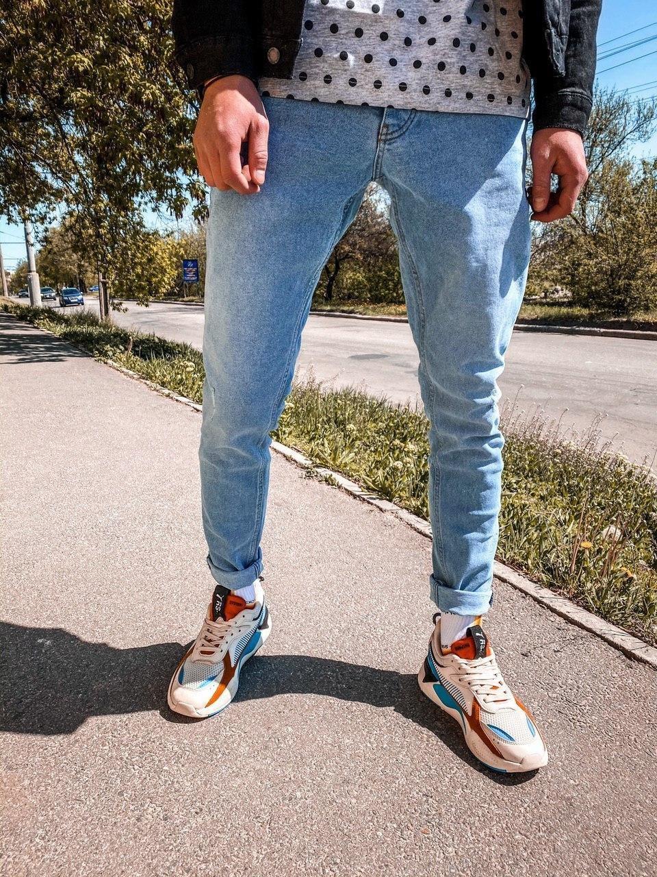 Джинсы - мужские голубые джинсы широкие бойфренды