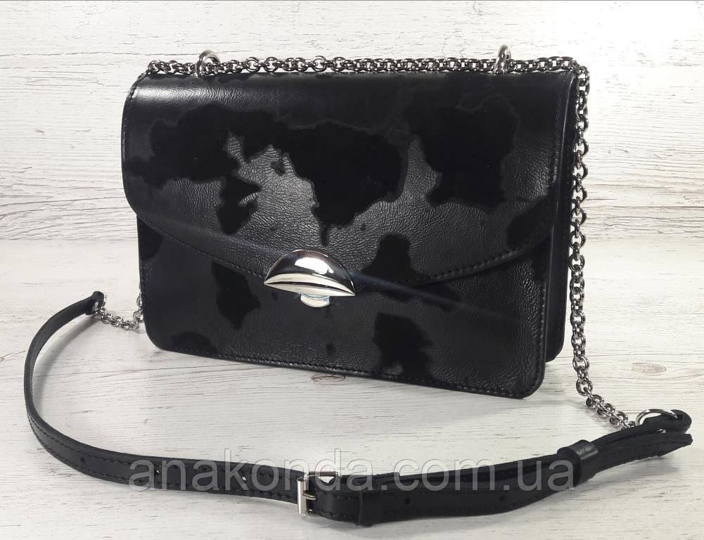 591-люкс Натуральная кожа-люкс, клатч черный, сумка женская черная, кросс-боди черная с ключницей