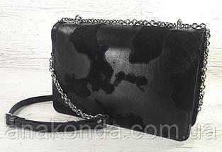 591-люкс Натуральная кожа-люкс, клатч черный, сумка женская черная, кросс-боди черная с ключницей, фото 3