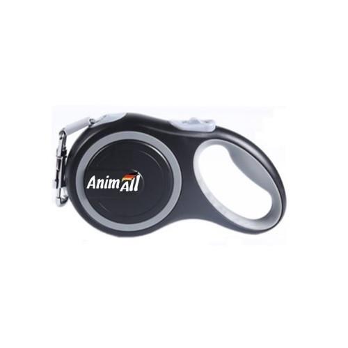 Поводок-рулетка AnimAll для собак вагою до 50 кг, 5 м, сірий