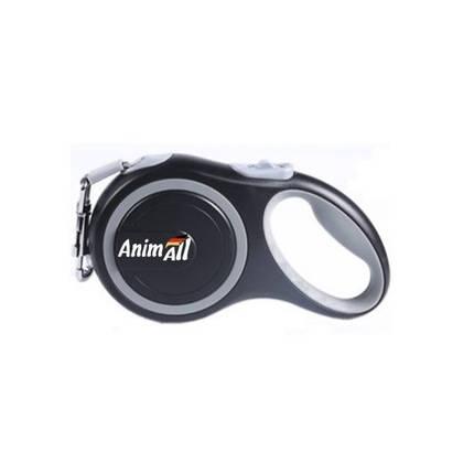 Поводок-рулетка AnimAll для собак вагою до 50 кг, 5 м, сірий, фото 2