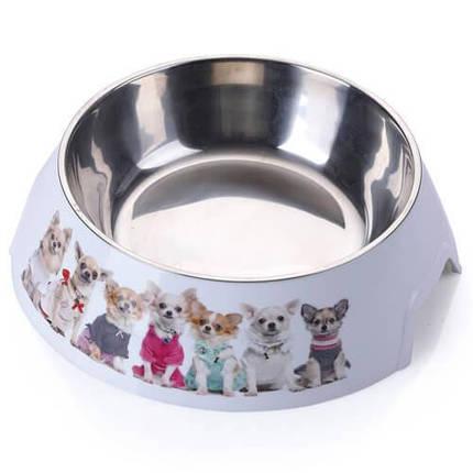 Пластиковая миска AnimAll с металлической вставкой для собак, 1.5 л, фото 2