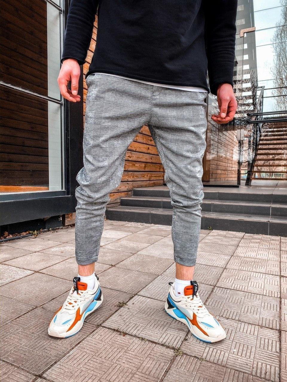 Чоловічі спортивні штани сірі брючний стиль