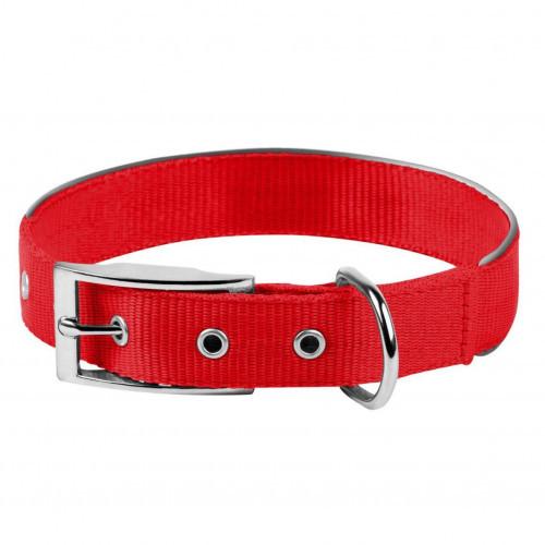 Нейлоновый ошейник Dog Extreme двойной, со светоотражающей вставкой для собак 25 мм, 38-48 см, красный