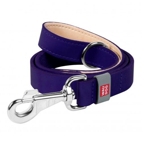 Шкіряний ремінець Waudog Classic для собак 25 мм, 122 см, фіолетовий