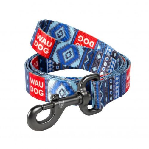 Поводок Waudog Nylon с рисунком Этно синий для собак 20 мм, 122 см