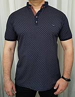 """Мужская футболка поло коричневая  """"Д""""большого размера"""