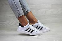 Женские кроссовки в стиле Adidas Superstar, кожа, белые с черным 36(23,3 см), в наличии:36,37,38,39