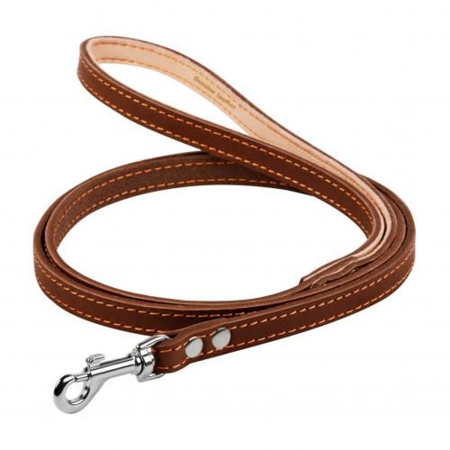 Поводок одинарный для собак, с прошивкой 12 мм, 122 см, коричневый