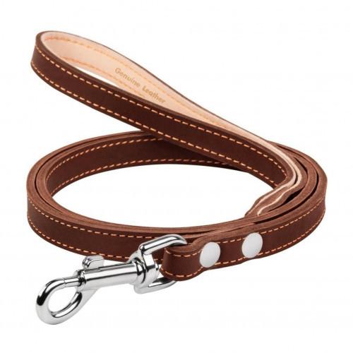 Поводок двойной для собак, с прошивкой 14 мм, 122 см, коричневый