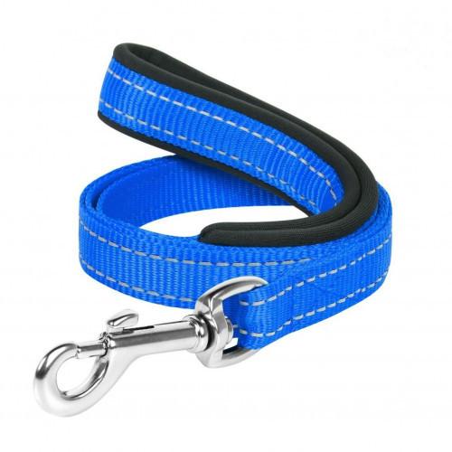 Нейлоновий ремінець Dog Extreme з прорезининой ручкою для собак 14 мм, 122 см, блакитний