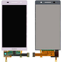 Дисплейный модуль (дисплей + сенсор) для Huawei Ascend P6-U06, розовый, оригинал