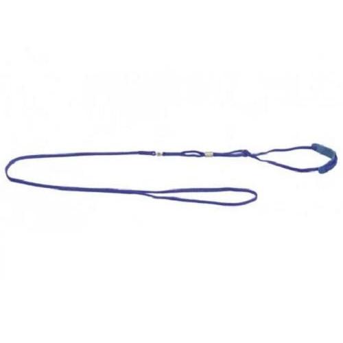 Ринговка с кожаной накладкой и стразами Dog Extreme для собак 5 мм, 130 см, голубой