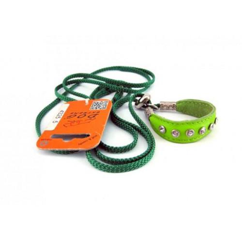 Ринговка з шкіряною вставкою та стразами Dog Extreme для собак 5 мм, 130 см, салатовий