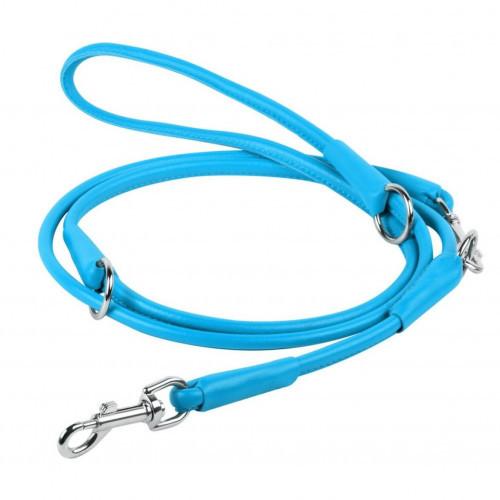 Поводок-перестежка Waudog Glamour круглый для собак, 10 мм, голубой