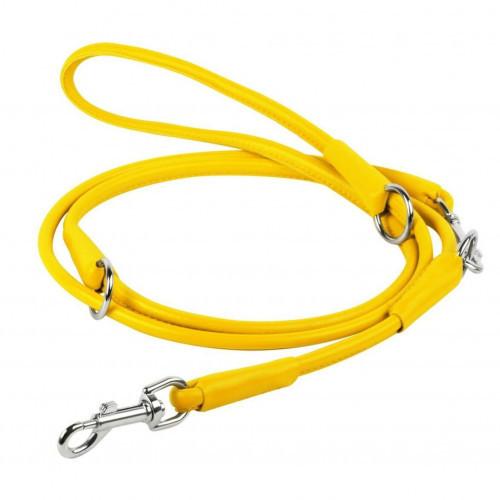 Повідець-перестежка Waudog Glamour круглий для собак, 6 мм, жовтий