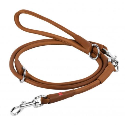 Повідець-перестежка Waudog Soft круглий для собак 10 мм, коричневий