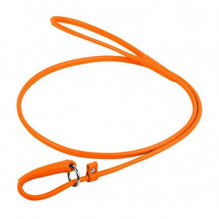 Повідець-зашморг Waudog Glamour круглий для собак 4 мм, 135 см, оранжевий, фото 2