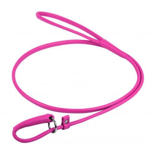 Повідець-зашморг Waudog Glamour круглий для собак 4 мм, 135 см, рожевий