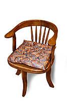 Подушка на стул без завязок, размер 40х40х5 см,  коричневая с голубым, принт Орнамент, Декоративная подушка