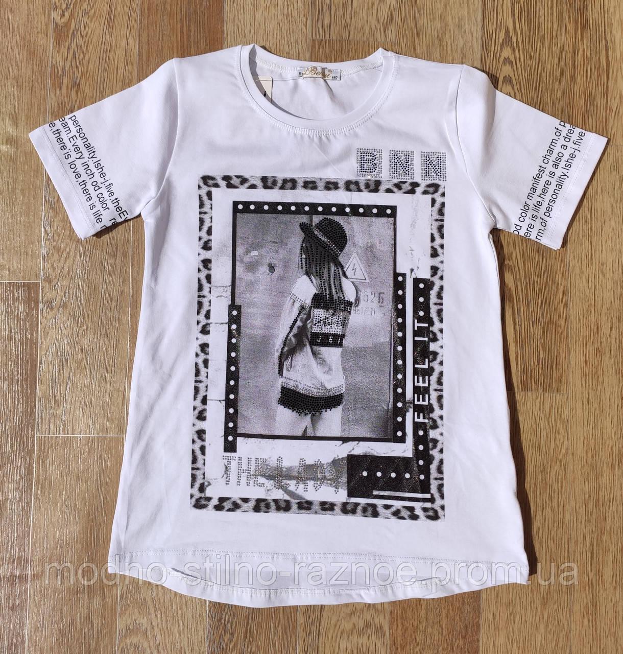 Стильная белая футболка на девочку 10-16 лет Benini