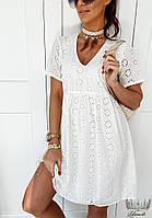 Женское стильное батистовое платье прямого кроя, фото 1