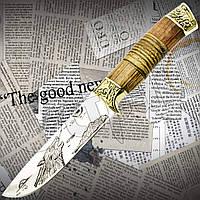 """Нож охотничий FB 1138 """"Волк"""" с гравировкой на клинке. Надежная деревянная рукоять. Лезвие остро заточено, фото 1"""