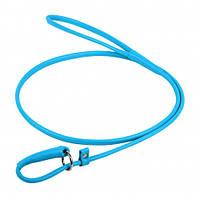 Поводок-удавка Waudog Glamour круглый для собак 8 мм, 135 см, голубой