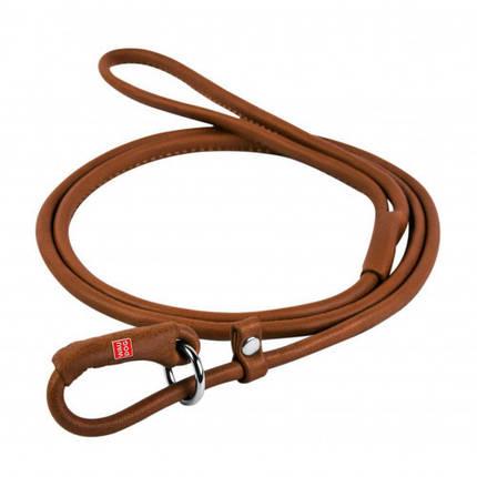 Повідець-зашморг Waudog Soft круглий для собак 10 мм, 135 см, коричневий, фото 2