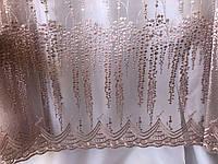 Тюль вуаль высота 3 м., розовая (фрезовая) с узором в зал/спальню/гостиную/детскую