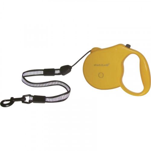 Рулетка із світловідбиваючої стрічкою для собак вагою до 12 кг, 5 м, жовта