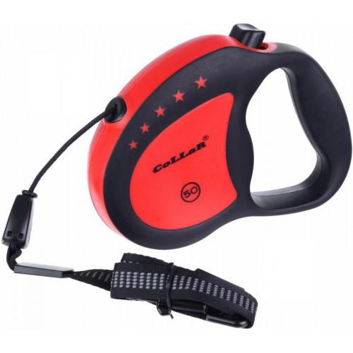 Рулетка для собак весом до 50 кг, 5 м, красная