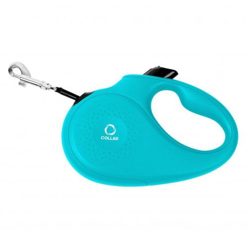 Поводок-рулетка для собак весом до 25 кг, размер M, 5 м, голубой