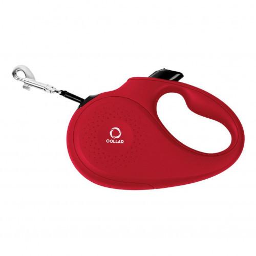 Поводок-рулетка для собак вагою до 15 кг, розмір S, 5 м, червоний