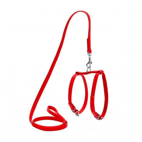 Шлея Waudog Glamour з повідцем для собак і кішок 9 мм, 115 см, червоний