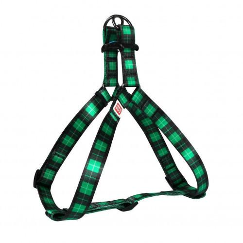 Шлея Waudog Nylon для собак с рисунком Шотландка зеленая 20 мм, 50-80 см