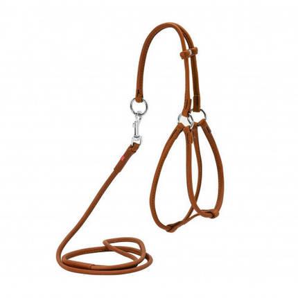 Шлея-повідець кругла Waudog Soft №2 для собак та дрібних собак, 6 мм, 90 см, коричневий, фото 2