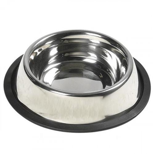 Миска Flamingo Dish Steel Rim для собак, с резиновым ободком, нержавейка, 14.5 см