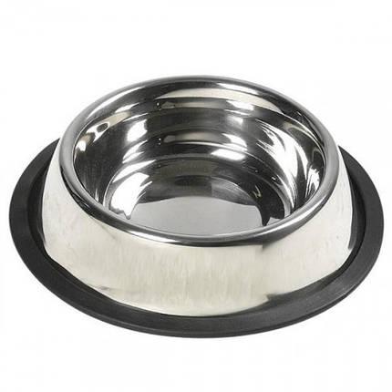 Миска Flamingo Dish Steel Rim для собак, с резиновым ободком, нержавейка, 14.5 см, фото 2