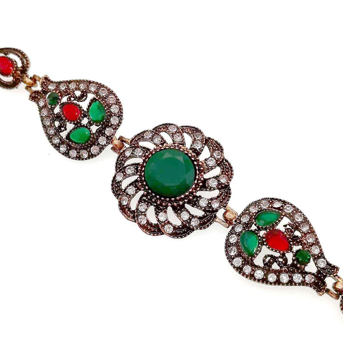 Браслет SONATA красные, зеленые и белые фианиты, 51923             (17 см)