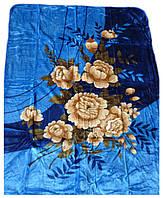 Плед Cappone гладкий (облегченка) 1,5 х 2. Розы на синем.
