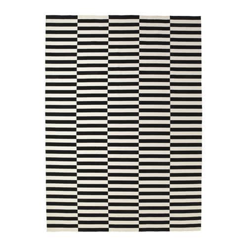 ИКЕА (IKEA) СТОКГОЛЬМ, 901.032.54, Ковер, безворсовый, полоска ручная работа, белый с оттенком в полоску черный/белый с оттенком, 250x350 см - ТОП