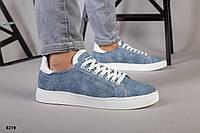 Кеды мужские джинс на белой подошве, фото 1
