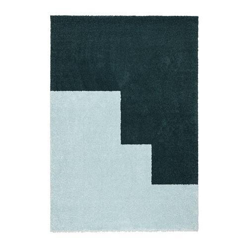 ИКЕА (IKEA) KONGSTRUP, 104.352.19, Ковер, длинный ворс, голубой, зеленый, 133x195 см - ТОП ПРОДАЖ