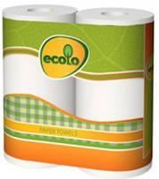 """Полотенце бумажное """"Ecolo"""" 2 слоя (2шт), 12уп. \ бл."""