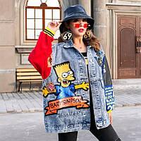 Женская джинсовая куртка Bart Simpson с надписями и пайетками голубая, фото 1